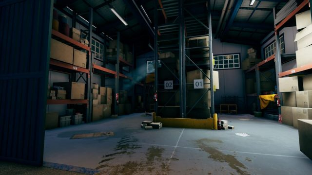 In this warehouse, you can climb and jump on the racks to reach the broken window on the top-left (highlighted by